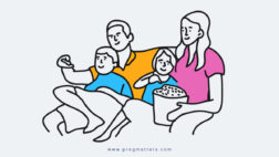 Parents Watching Movie With Kids